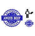 butcher scratched icon and seals vector image vector image