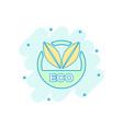 cartoon eco label badge icon in comic style vector image vector image