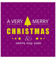 christmas card with pattern background purple vector image
