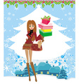 Christmas shopping on a snowy day vector image vector image