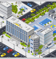 city landscape with hotels pools and car parking vector image vector image