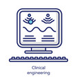 clinical engineering white color icon healthcare vector image vector image