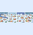 country cottage houses winter christmas landscape vector image