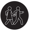 couple walks holding hands together black vector image