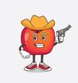 crab apple cartoon mascot character holding gun vector image vector image