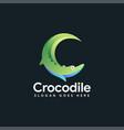 crocodile logo icon letter c for crocodile vector image vector image
