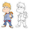 cute boy cartoon character vector image