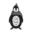 cute hand drawn style with monochrome penguin vector image