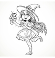 Cute little girl dressed as witch with a owl and vector image vector image
