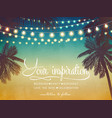 decorative holiday lights background on beach vector image vector image