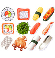 Different kind of sushi roll vector image vector image