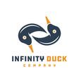 duck infinity logo design vector image vector image
