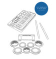 electronic drum pad kit and mini keyboard sketch vector image