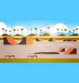 empty public skate board park with various ramps vector image