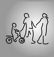 family holding hand with a boy on bicycle vector image vector image