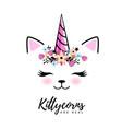 fantasy animal cat kittycorn vector image vector image