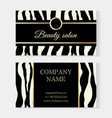 fashion beauty salon template business card zebra vector image