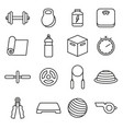 fitness icons outline set vector image vector image