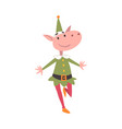 funny christmas elf character symbol xmas and vector image