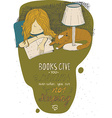 Girl and cat sleeping on book hand drawn colorful vector image