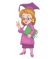 girl graduating school vector image
