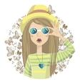 girl with butterflies vector image vector image