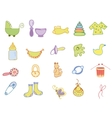 Hand drawn baby icons vector image