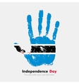 Handprint with the Flag of Botswanai in grunge vector image vector image