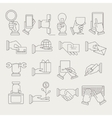 Hands With Different Objects Icon Set vector image vector image
