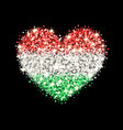 hungary flag sparkling heart badge vector image vector image