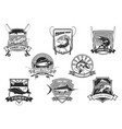 icons set for fishing or fisher sport club vector image vector image