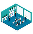 isometric training room rear view coaches vector image vector image