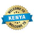 Kenya 3d gold badge with blue ribbon vector image vector image