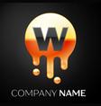 letter w splash logo golden dots and bubbles vector image vector image