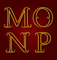 m n o p golden vintage letters with shadow vector image
