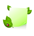 Note with leaves and ladybird vector image vector image