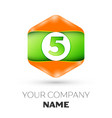 number five logo in the colorful hexagonal vector image vector image