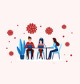 office worker people in masks work sitting vector image vector image