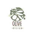 olive oil label with branch of olives hand drawn vector image vector image