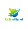online planet logo designs concept cursor shield vector image vector image