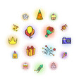 party icons and celebration icons set vector image