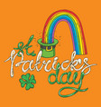 patrick day leprechaun hat with rainbow vector image