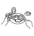 pov close-up man having meal sketch vector image