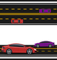 purple and red cars are driving along the road vector image