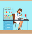 scientist woman working research in chemical lab vector image