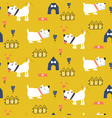 seamless pattern with adorable puppies yellow vector image vector image