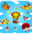 seamless pattern with animals in air vector image vector image