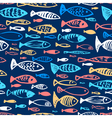 seamless pattern with doodle fishes vector image vector image