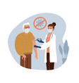 senior old man at doctor in hospital is vector image