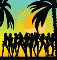 sexy and hot girls and palms silhouette vector image vector image